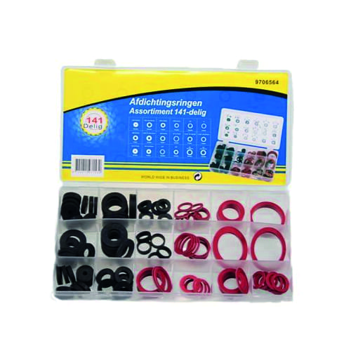 Assortiment ringen rubber + fiber 141 delig