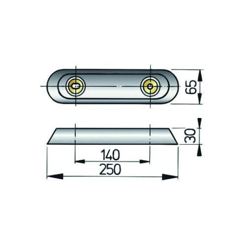 VETUS Huidanode type 25, Aluminium
